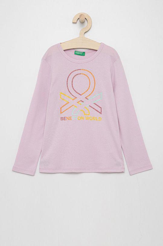 růžová United Colors of Benetton - Dětské tričko s dlouhým rukávem Dívčí