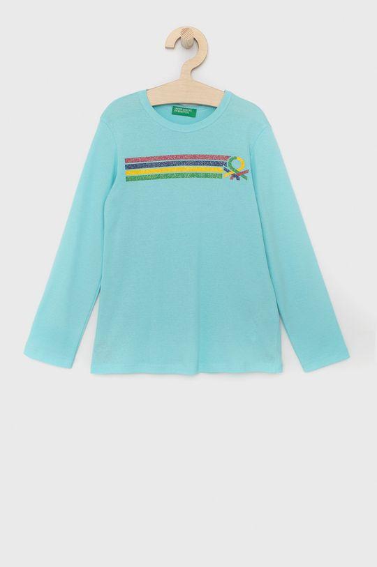 tyrkysová United Colors of Benetton - Dětské tričko s dlouhým rukávem Dívčí