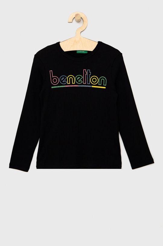 černá United Colors of Benetton - Dětské tričko s dlouhým rukávem Dívčí