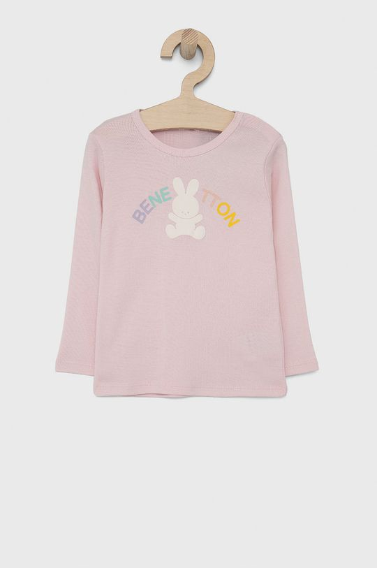 pastelově růžová United Colors of Benetton - Dětské tričko s dlouhým rukávem Dívčí