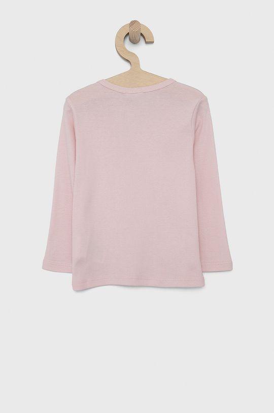 United Colors of Benetton - Dětské tričko s dlouhým rukávem pastelově růžová