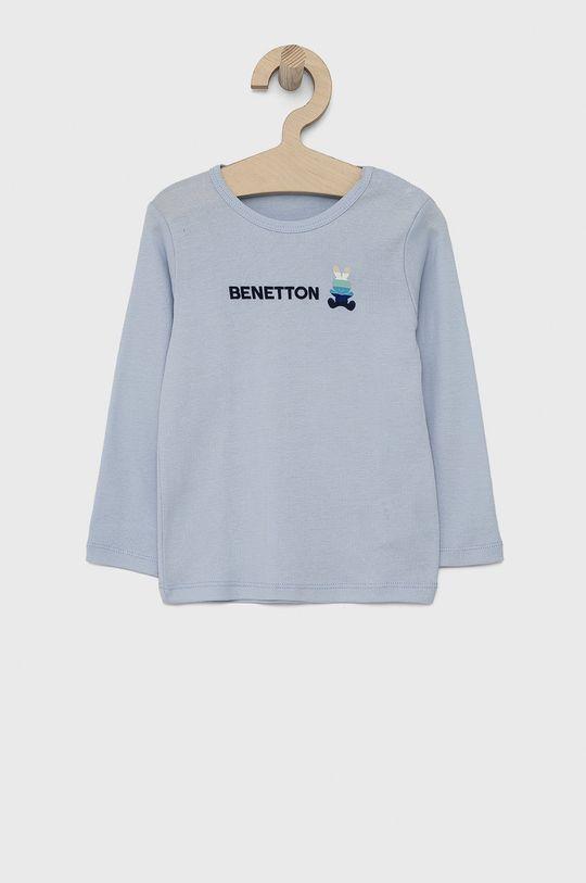 světle modrá United Colors of Benetton - Dětské tričko s dlouhým rukávem Dívčí