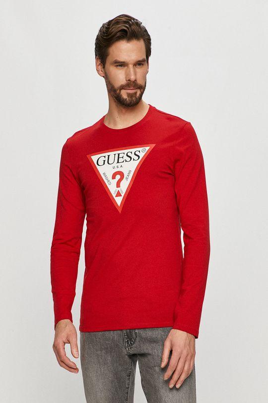 červená Guess - Tričko s dlouhým rukávem Pánský