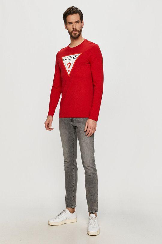 Guess - Tričko s dlouhým rukávem červená
