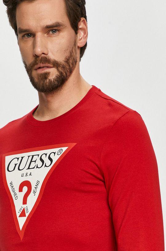 červená Guess - Tričko s dlouhým rukávem