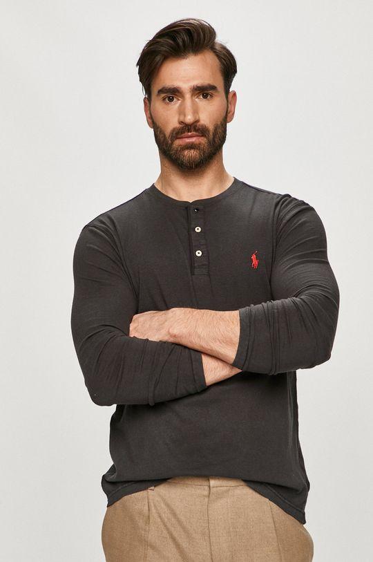 grafitová Polo Ralph Lauren - Tričko s dlouhým rukávem Pánský