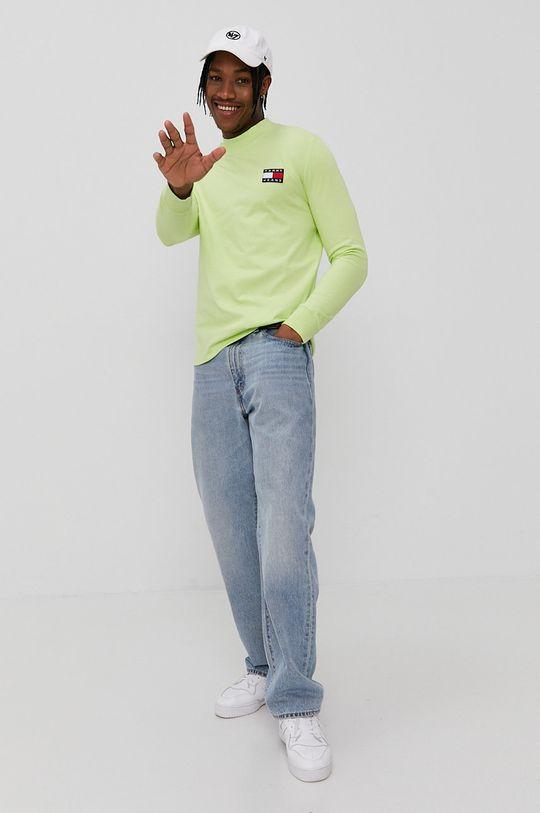Tommy Jeans - Tričko s dlhým rukávom žlto-zelená