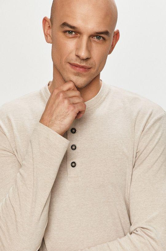 béžová Produkt by Jack & Jones - Tričko s dlhým rukávom Pánsky
