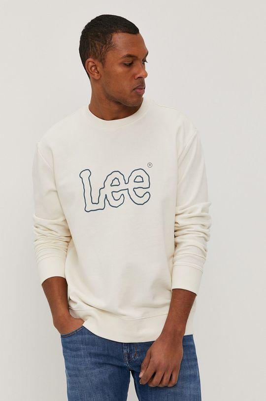kremowy Lee - Bluza bawełniana Męski