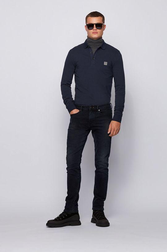 Boss - Tričko s dlouhým rukávem BOSS CASUAL námořnická modř