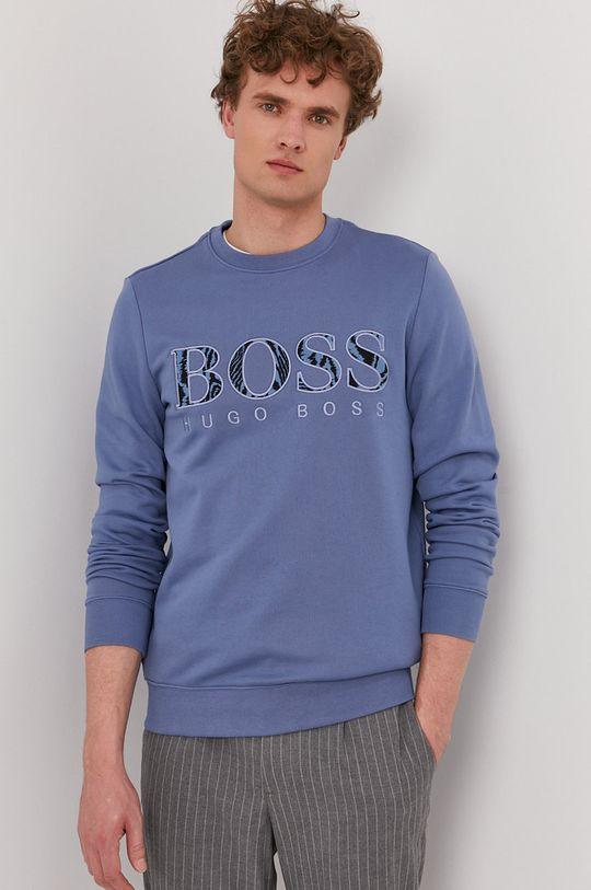 modrá Boss - Bavlnená mikina Boss Casual