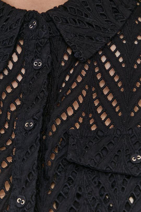 Guess - Bavlnená košeľa čierna