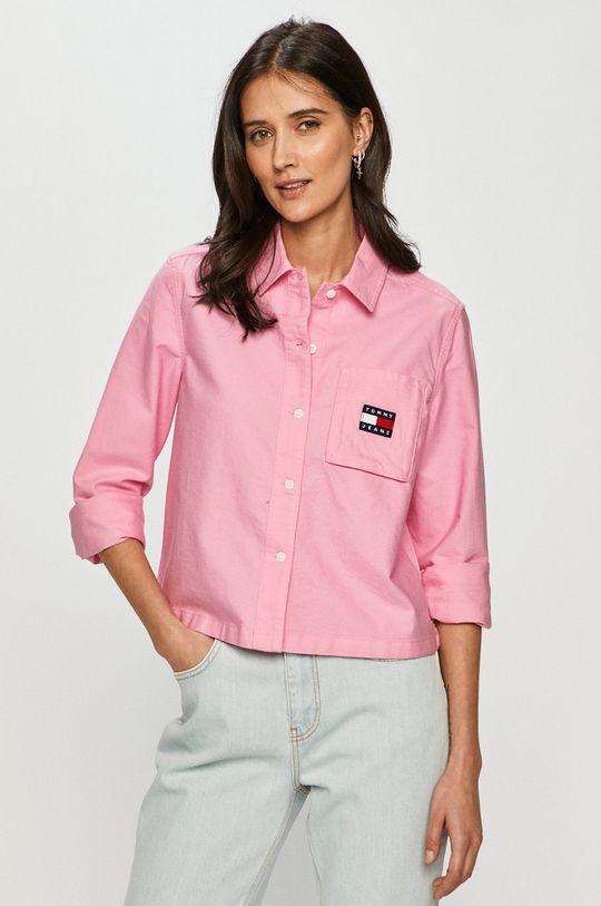 růžová Tommy Jeans - Bavlněné tričko Dámský