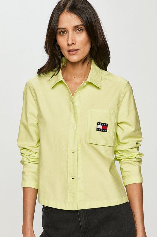 žlutě zelená Tommy Jeans - Bavlněné tričko Dámský
