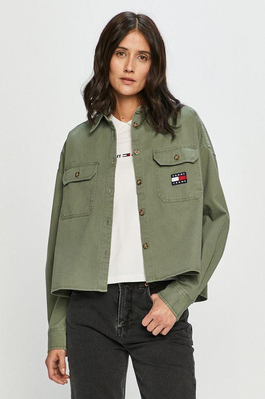 hnedo zelená Tommy Jeans - Bavlnená košeľa Dámsky