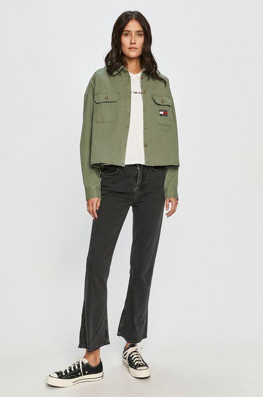Tommy Jeans - Bavlnená košeľa hnedo zelená