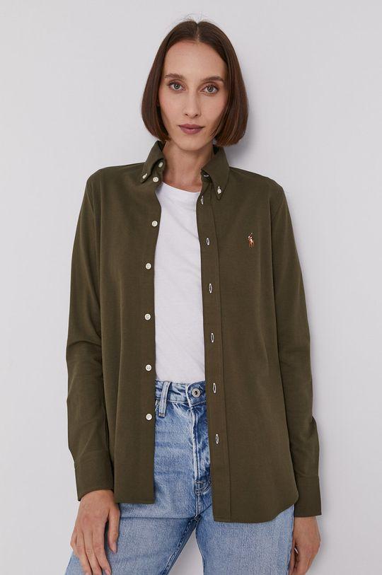 olivová Polo Ralph Lauren - Bavlněné tričko Dámský