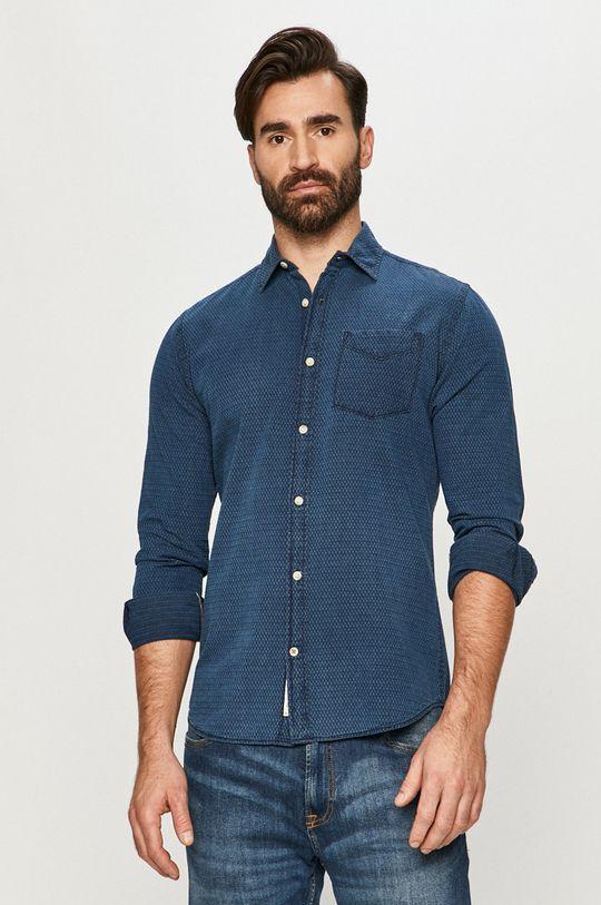 tmavomodrá Premium by Jack&Jones - Bavlnená košeľa Pánsky