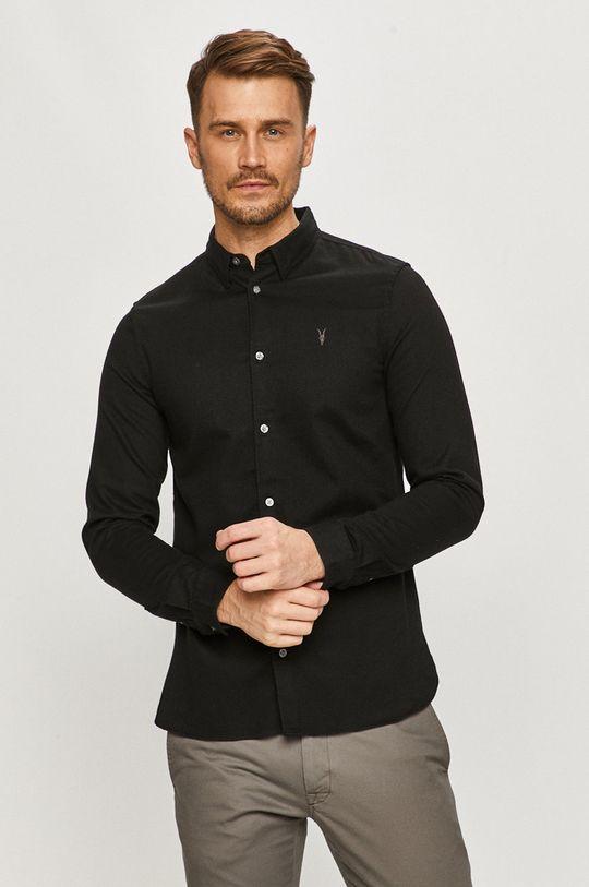 czarny AllSaints - Koszula bawełniana Męski