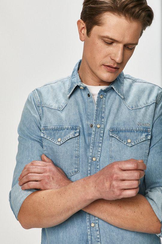 modrá Pepe Jeans - Bavlněné tričko Noah Pánský