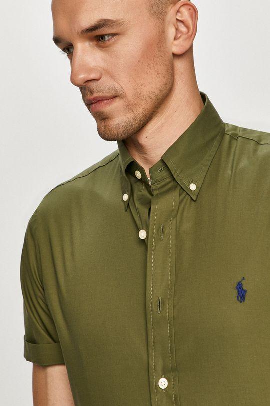 olivová Polo Ralph Lauren - Bavlnená košeľa Pánsky