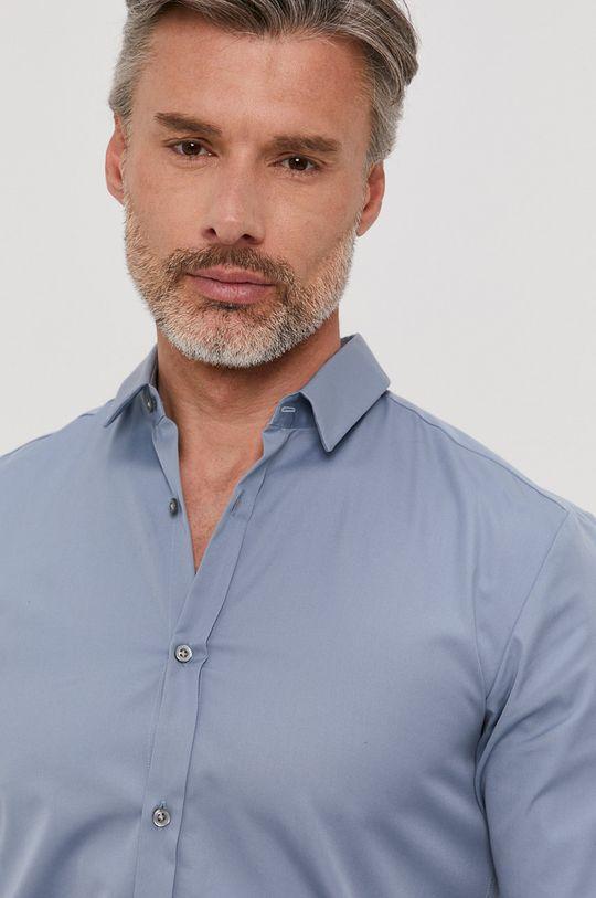 světle modrá Hugo - Bavlněné tričko Pánský