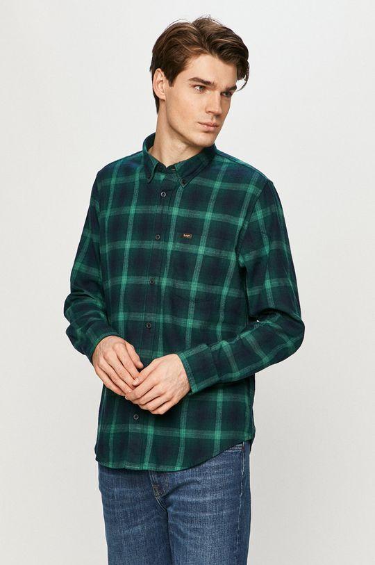 ciemny zielony Lee - Koszula bawełniana Męski