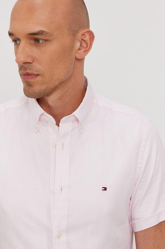 pastelová ružová Tommy Hilfiger - Bavlnená košeľa Pánsky
