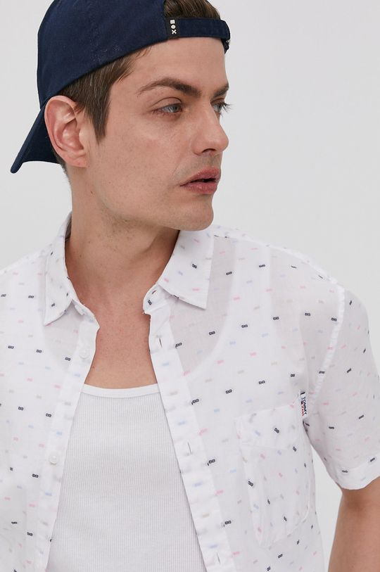 biały Tommy Jeans - Koszula bawełniana Męski