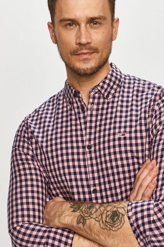 bledofialový Tommy Jeans - Bavlnená košeľa Pánsky