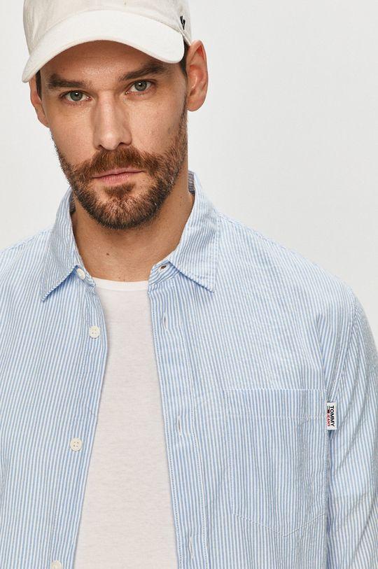 modrá Tommy Jeans - Bavlněná košile Pánský