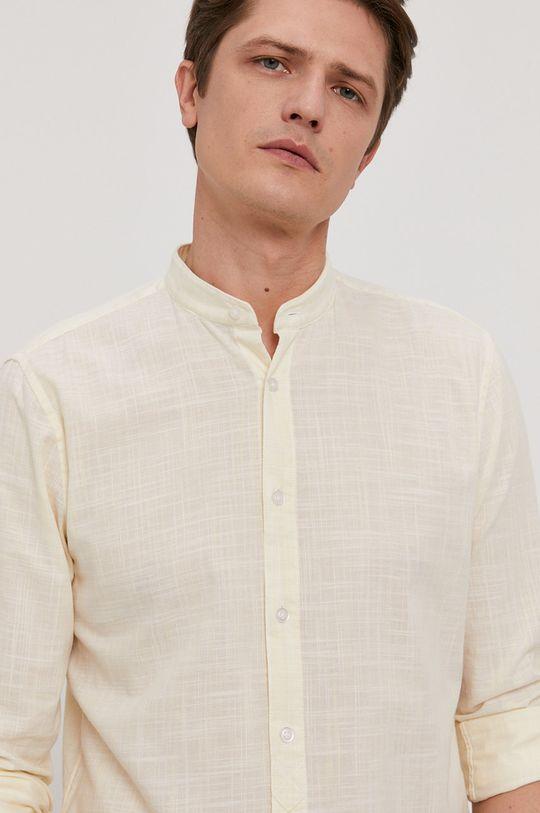 svetložltá Strellson - Bavlnená košeľa Pánsky