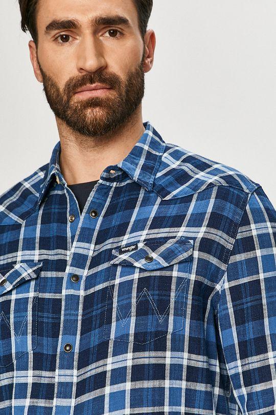 modrá Wrangler - Bavlněná košile Pánský
