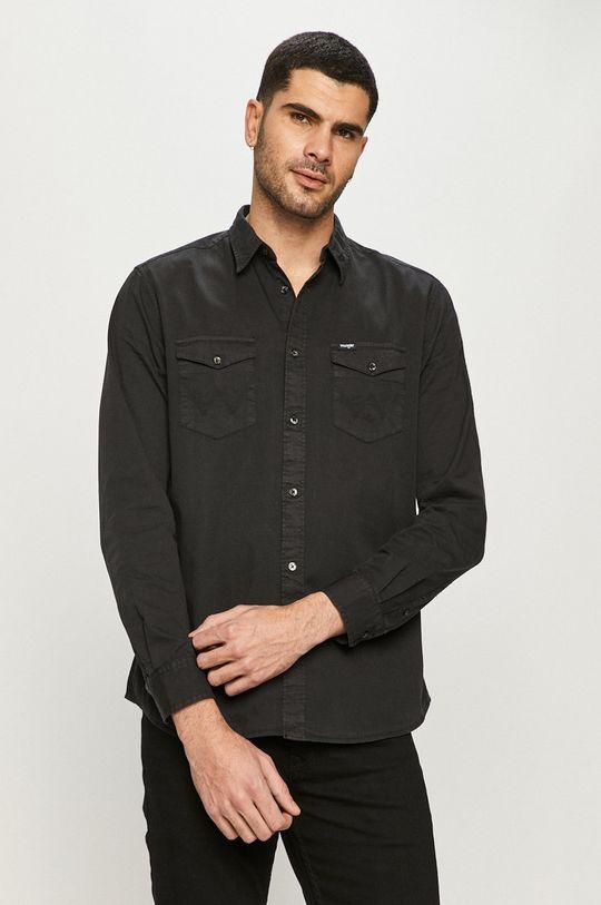 czarny Wrangler - Koszula bawełniana Męski