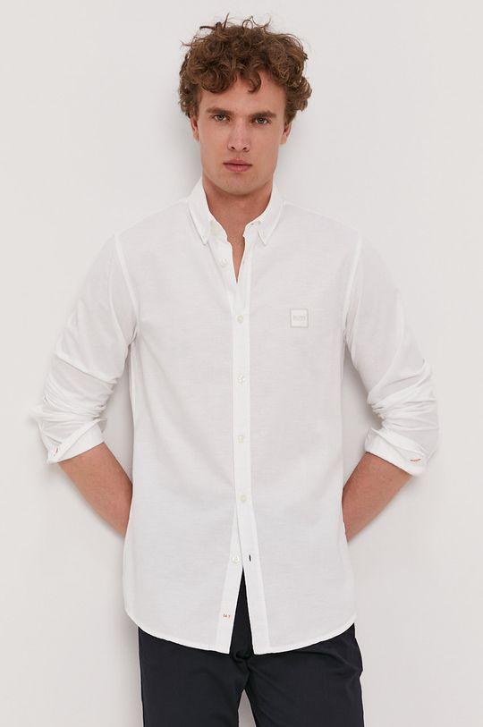 biały Boss - Koszula bawełniana Boss Casual Męski