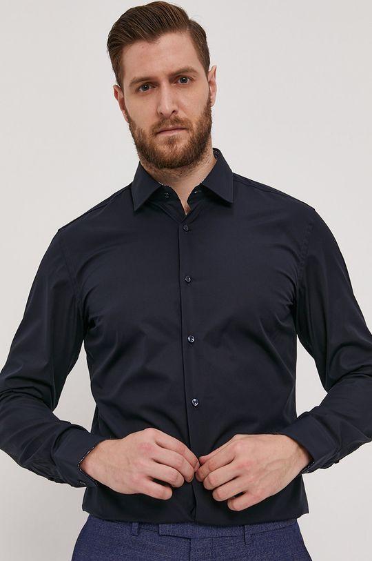 granatowy Boss - Koszula bawełniana Męski