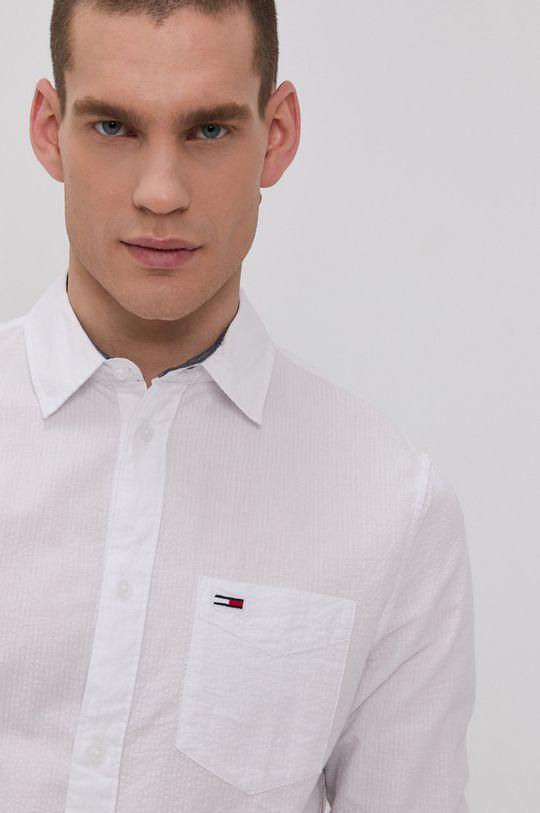 biela Tommy Jeans - Bavlnená košeľa Pánsky