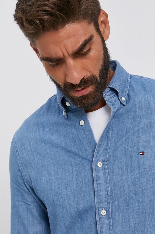niebieski Tommy Hilfiger - Koszula bawełniana jeansowa Męski
