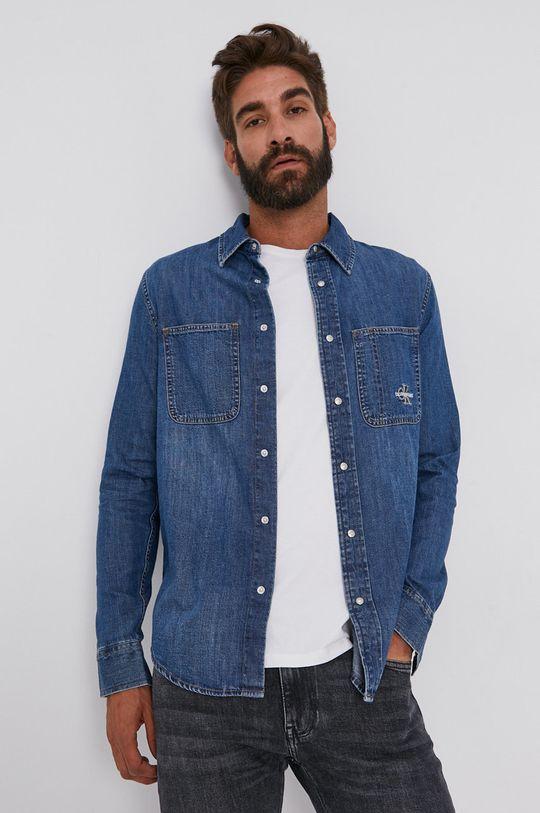 niebieski Calvin Klein Jeans - Koszula bawełniana jeansowa Męski