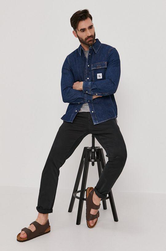 niebieski Calvin Klein Jeans - Koszula bawełniana Męski