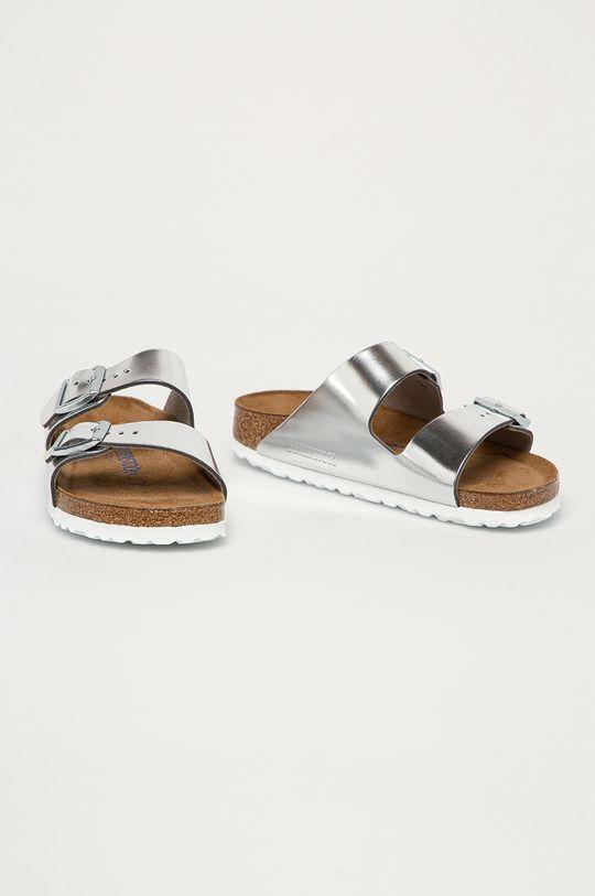 Birkenstock - Kožené pantofle Arizona stříbrná