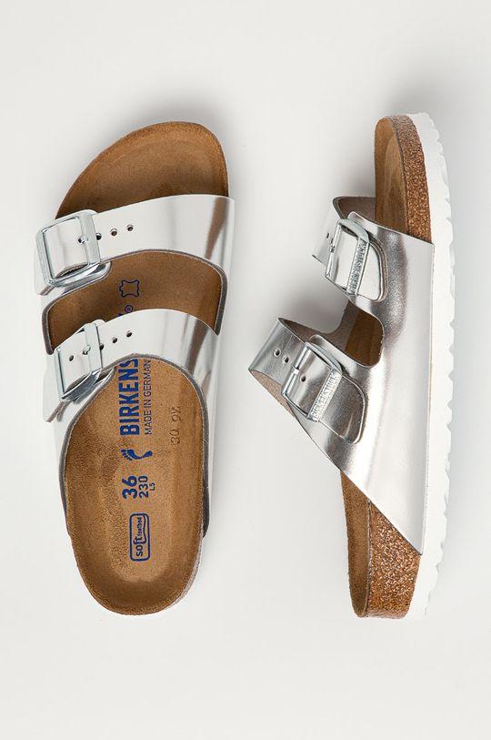 stříbrná Birkenstock - Kožené pantofle Arizona