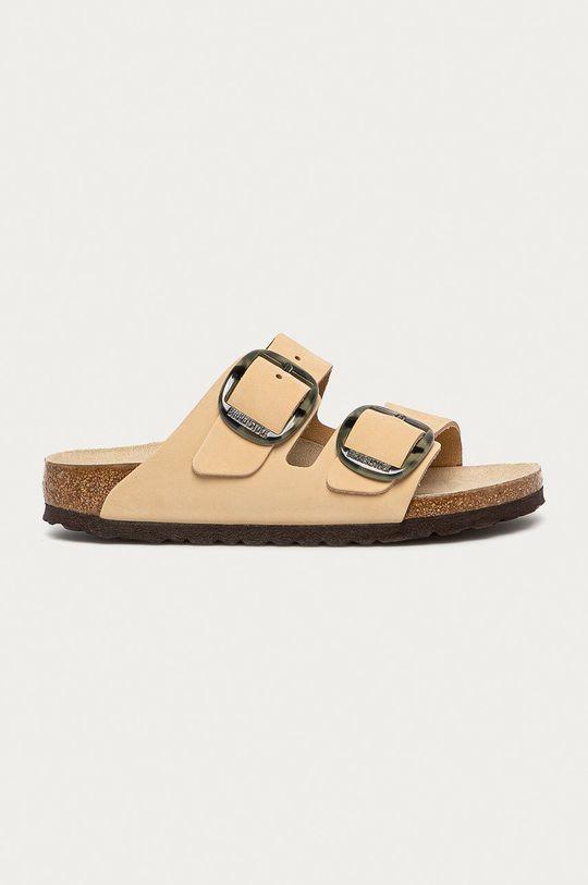 béžová Birkenstock - Kožené pantofle Arizona Dámský
