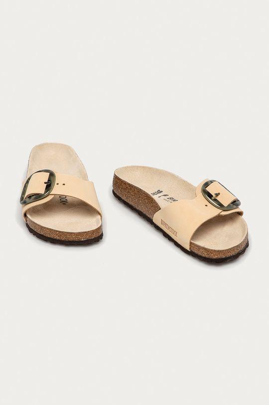 Birkenstock - Semišové pantofle Madrid Big Buckle béžová