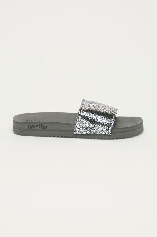 szary Flip*Flop - Klapki Metallic cracked Damski