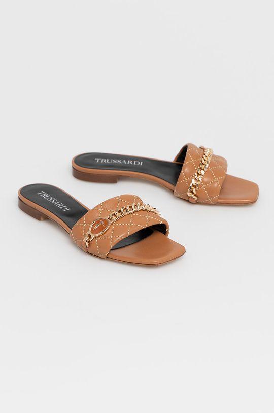 Trussardi - Kožené pantofle hnědá