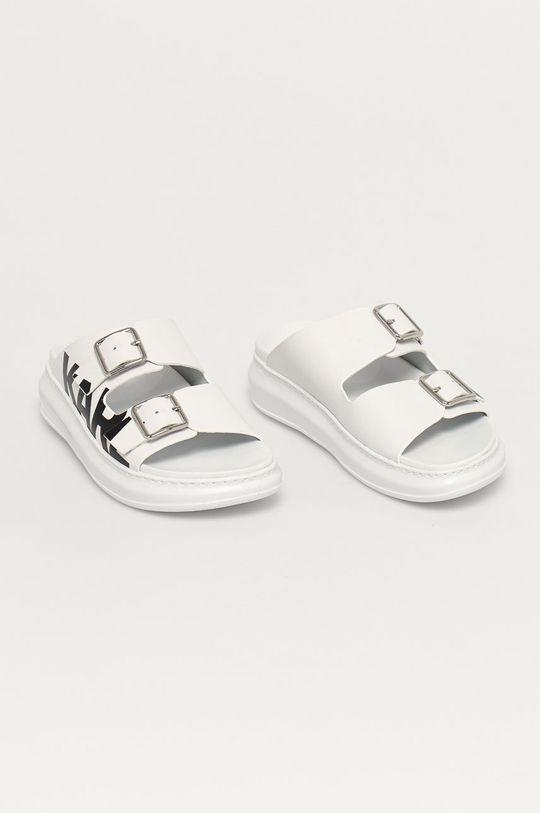 Karl Lagerfeld - Шкіряні шльопанці білий