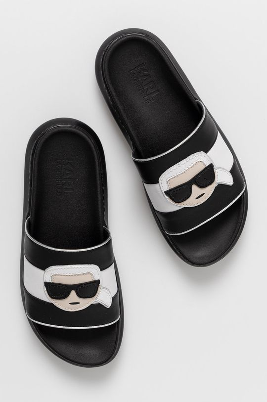 czarny Karl Lagerfeld - Klapki skórzane