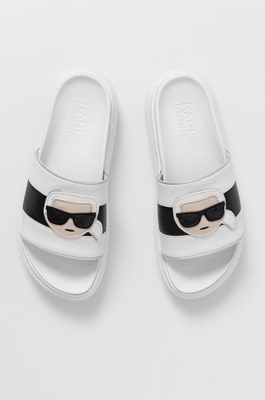 Karl Lagerfeld - Kožené šľapky biela