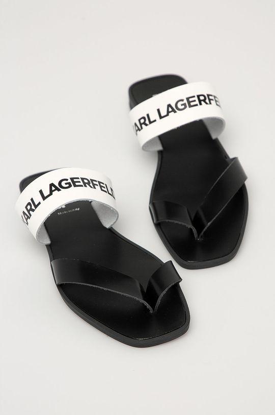 Karl Lagerfeld - Kožené žabky bílá